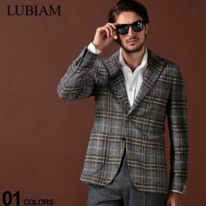 ルビアム LUBIAM ジャケット ウール混 チェック シングル 2ツ釦 2B ブランド メンズ アウター テーラード サイドベンツ LBM281795194|zen