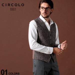 チルコロ1901 CIRCOLO 1901 ジレ コットン ストレッチ プリント へリンボーン ブランド メンズ ベスト CICN2392CT551|zen