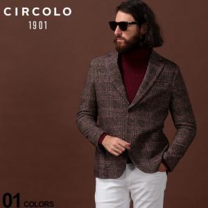 チルコロ1901 CIRCOLO 1901 ジャケット コットン ジャージー グレンチェック シングル 2ツ釦 2B ブランド メンズ テーラード プリント CICN2388|zen