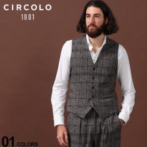 チルコロ1901 CIRCOLO 1901 ジレ コットン ジャージー チェック シングル ベスト ブランド メンズ プリント チョッキ CICN2438 zen