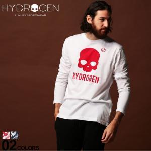 ハイドロゲン HYDROGEN Tシャツ 長袖 ロンT スカル ロゴ プリント クルーネック ブランド メンズ トップス カットソー HY250635|zen