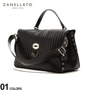 ザネラート ZANELLATO レザー 波型押し 2WAY ボスティーナ バッグ POSTINA M+ BLACK ブランド メンズ 鞄 トート ショルダー レザーバッグ ZL36107S0|zen