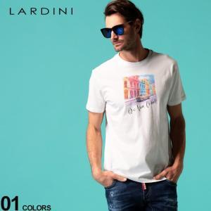 ラルディーニ メンズ Tシャツ LARDINI Que Viva Cuba 街並み プリント クルーネック 半袖 ブランド トップス プリントT LDLTCUBA544011|zen