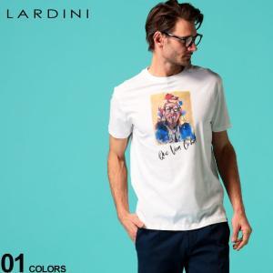 ラルディーニ メンズ Tシャツ LARDINI Que Viva Cuba 葉巻 プリント クルーネック 半袖 ブランド トップス プリントT LDLTCUBA544012|zen