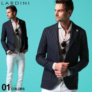 ラルディーニ メンズ ジャケット LARDINI 綿麻 ストライプ シングル 2ツ釦 2B ブランド コットン リネン テーラード サマージャケット LD534AQRP54589|zen