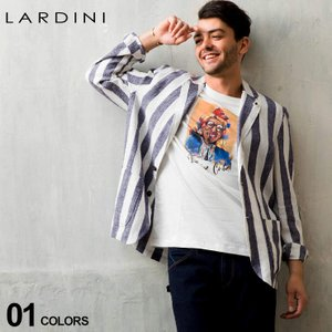 ラルディーニ メンズ ジャケット LARDINI シャツジャケット リネン 麻100% ストライプ シングル 2ツ釦 2B ブランド テーラード 麻 LDAMAC1192|zen