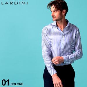ラルディーニ メンズ シャツ 長袖 LARDINI 麻シャツ ストライプ ホリゾンタルカラー コットン リネン ブルー ブランド トップス リネンシャツ LDCIROC1182|zen