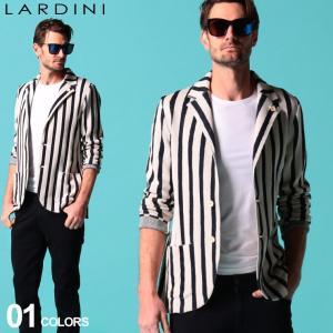 LARDINI (ラルディーニ) ブートニエール付き 麻混 ストライプ シングル ニット ジャケット LDLJM56EI54009|zen