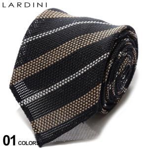 ラルディーニ メンズ ネクタイ LARDINI リネン シルク混 ストライプ BLACK 黒 ブランド タイ 麻 LDCRB7EI54210|zen