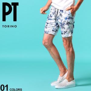 PT TORINO メンズ ショートパンツ ピーティートリノ ハワイアン 総柄 プリント ロールアップ ショーツ ブランド メンズ ボトムス コットン PTCBYS11Z20AP65 zen