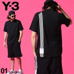Y-3 メンズ Tシャツ ワイスリー バック スリーストライプス クルーネック 半袖 3STP 黒 ...
