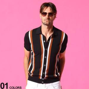 タリアトーレ メンズ ニットシャツ TAGLIATORE ストライプ フルボタン 半袖 ニット シャツ ブランド  トップス ニットソー コットン TGSSCCR35GSE21|zen