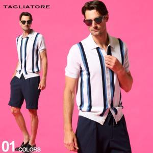 タリアトーレ メンズ TAGLIATORE シャツ 半袖 ストライプ フルボタン ニット ブランド トップス コットンニット TGSSCCR35GSE21|zen