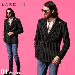 ラルディーニ LARDINI メンズ ストライプ ダブル 6ツ釦 ニット ジャケット ブランド テーラード コットンニット ダブル LDLJM57L56005 zen