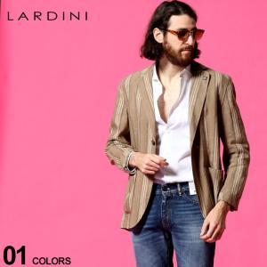 ラルディーニ LARDINI メンズ 麻ジャケット ストライプ シングル 2ツ釦 シャツ ジャケット ブランド テーラード リネン LDAMAC1390 zen