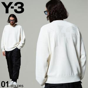 Y-3 ワイスリー コットン バックロゴ クルーネック ニット ブランド メンズ トップス ニット セーター Y3GV4215|zen