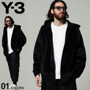 Y-3 ワイスリー 裾ロゴ ベルベット スウェット フルジップ パーカー SQUARE VELVET SPACER ブランド メンズ トップス Y3HB3341|zen