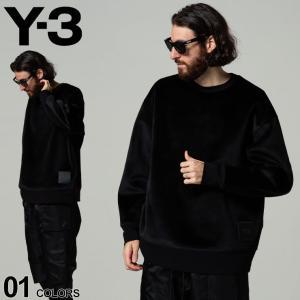 Y-3 ワイスリー 裾ロゴ ベルベット スウェット クルーネック トレーナー SQUARE VELVET SPACER ブランド メンズ トップス Y3HB3339|zen