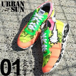 アーバンサン スニーカー urbansun ネオンカラー 迷彩 ロゴ ローカット ブランド メンズ 靴 シューズ スニーカー カモフラージュ USANDRE229|zen