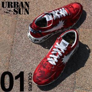 アーバンサン スニーカー urbansun 迷彩 ロゴ ローカット RED ブランド メンズ 靴 シューズ スニーカー カモフラージュ USANDRE225|zen