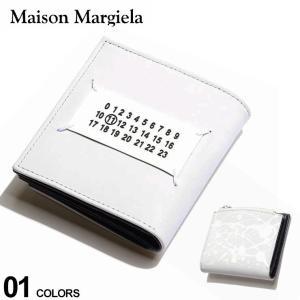 Maison Margiela メゾン マルジェラ レザー ペイント ロゴ 二つ折り 財布 WHITE ブランド メンズ レザー 2つ折り財布 ウォレット ミニ財布 ME35UI438P0548|zen