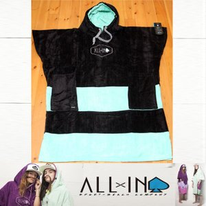 ALLxIN ポンチョ FLASH [Black/Turquoise]:サーフィン・プールの着替え用 ポンチョ フリーサイズ/フランス生まれのオールイン|zenithgaragesurfplus
