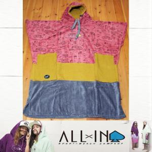 ALLxIN ポンチョ V-BUMPY [Camping Print]:サーフィン・プールの着替え用 ポンチョ フリーサイズ/フランス生まれのオールイン|zenithgaragesurfplus
