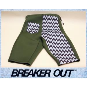 BREAKER OUT メンズ 2mm ウエットパンツ:オリーブxプリントマテリアル Lサイズ ポケット付き/ブレーカーアウト別注|zenithgaragesurfplus
