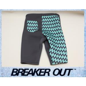 BREAKER OUT メンズ 2mm ウエットパンツ:ストーンブラックxプリントマテリアル MLサイズ ポケット付き/ブレーカーアウト|zenithgaragesurfplus
