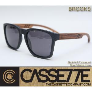 CASSETTE 木製 ウッドアーム:BROOKS 501 [Black-W & Zebrawood/Gray Lens] 偏光レンズ ゼブラウッドアーム ブラック木目調フレーム サングラス zenithgaragesurfplus