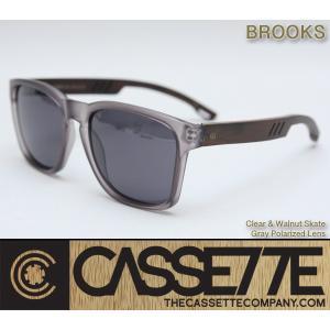 CASSETTE 木製 ウッドアーム:BROOKS 502 [Clear & Walnut Skate/Gray Lens] 偏光レンズ ウォールナットアーム クリアグレーフレーム サングラス|zenithgaragesurfplus