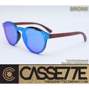 CASSETTE 木製 ウッドアーム:BRONX 505 [Frost & Red lacewood/Blue Mirror Polarized Lens] 偏光ミラーレンズ レッドレースウッドアーム サングラス zenithgaragesurfplus