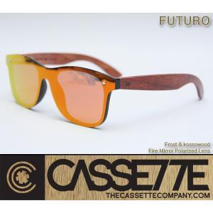 CASSETTE 木製 ウッドアーム:FUTURO 606 [Frost & Kossowood/Fire Mirror Polarized Lens] 偏光ミラーレンズ ウッドアーム サングラス zenithgaragesurfplus