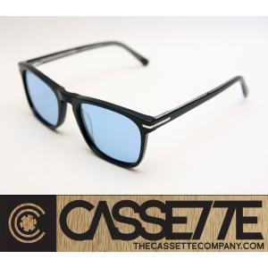 CASSETTE スタイリッシュな細身フレーム:EL CAPITAN 402 [Black : Blue Lens] 偏光レンズ アセテートフレーム 抜群のフィット感 サングラス|zenithgaragesurfplus