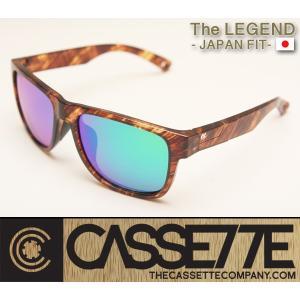 CASSETTE -JAPAN FIT-:LEGEND 005 [Amber Tortoise : GreenMirror Lens] 偏光レンズ TR90フレーム 日本仕様で抜群のフィット感 サングラス|zenithgaragesurfplus