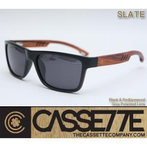 CASSETTE 木製 ウッドアーム:SLATE 501 [Matt Black & Red lacewood/Gray Lens] 偏光レンズ レッドレースウッドアーム ブラックフレーム サングラス|zenithgaragesurfplus
