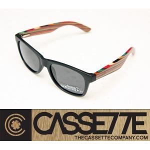 CASSETTE スケボーデッキ使用:THE YO 601 [Matt Black & MIXborder : Gray Lens] 偏光レンズ ウッドアーム MIXモデル サングラス|zenithgaragesurfplus