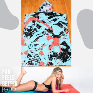 LEUS PONCHO SPLATTER:サーフィン・プールの着替え用 カンガルーポケット付き ポンチョ アダルトサイズ/カリフォルニアのお洒落ポンチョ|zenithgaragesurfplus