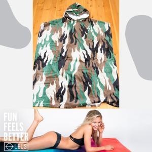 LEUS PONCHO SKETCHY TANK:サーフィン・プールの着替え用 カンガルーポケット付き ポンチョ アダルトサイズ 迷彩柄/カリフォルニアのお洒落ポンチョ|zenithgaragesurfplus