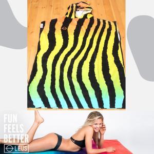 LEUS PONCHO TIGER:サーフィン・プールの着替え用 カンガルーポケット付き ポンチョ アダルトサイズ/カリフォルニアのお洒落ポンチョ|zenithgaragesurfplus
