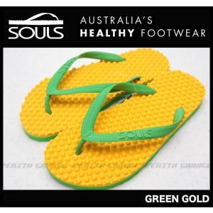 SOULS マッサージビーチサンダル:GREEN GOLD 凸凹が気持ちいい 通気性抜群 23cm〜29cm/郵便発送対応|zenithgaragesurfplus