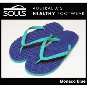 SOULS マッサージビーチサンダル:Monaco Blue 凸凹が気持ちいい 通気性抜群 23cm〜29cm/郵便発送対応|zenithgaragesurfplus