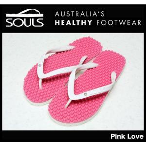 SOULS マッサージビーチサンダル:Pink Love 凸凹が気持ちいい 通気性抜群 23cm〜29cm/郵便発送対応|zenithgaragesurfplus