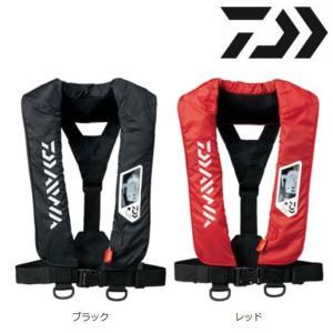 ダイワ ウォッシャブル ライフジャケット(肩掛けタイプ手動・自動膨脹式)DF-2007 ブラック レッド|zeniya-tsurigu
