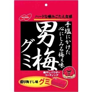 <男梅グミ 38g入×6個 ノーベル製菓(株)>  1袋あたりの外装サイズ:縦13.5cm×横9...