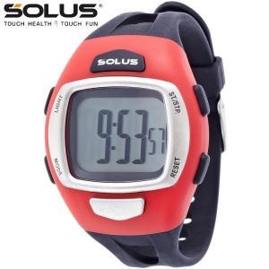 ランニングウオッチ 心拍計測 プッシュボタン式 腕時計 ソーラス SOLUS メンズ腕時計 Leisure 930-007 レッド ギフト プレゼン zennsannnet