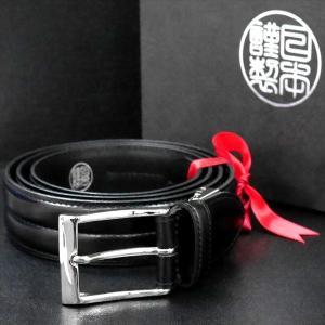 日本謹製メンズベルト オイルスムース革 センターステッチ ブラック 135101-10 ギフト プレゼント|zennsannnet