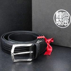 日本謹製メンズベルト 牛革リザード型押し ブラック 135102-10 ギフト プレゼント|zennsannnet