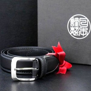 日本謹製メンズベルト 牛革 スムースマット仕上げ ブラック 135104-10 ギフト プレゼント|zennsannnet