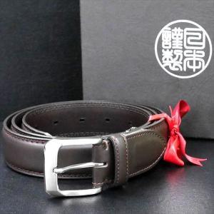 日本謹製メンズベルト 牛革 スムースマット仕上げ ブラウン 135104-70 ギフト プレゼント|zennsannnet